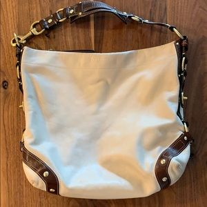 Leather COACH purse-cream with brown strap